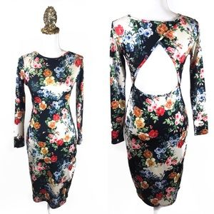 Asos Floral Garden Bodycon Midi Dress